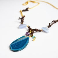 Turquoise Geode Brown Leather Necklace Long Gold Gemstone Bohemian Jewelry Boho Necklace Womens Necklace Purple Anethyst Blue Green Apatite