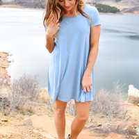 Open Skies Strappy Back Tunic Blue