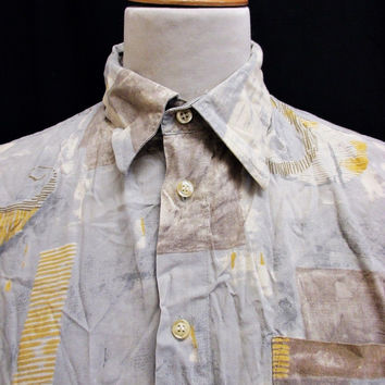 Vintage 80s Shirt Crazy Pattern Party Fashion Print XL