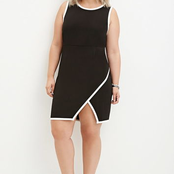 Plus Size Contrast-Trimmed Sheath Dress