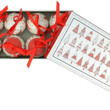 10-Piece Red and White Decoupage Shatterproof Christmas Tree Ball Ornament Set 1.75""