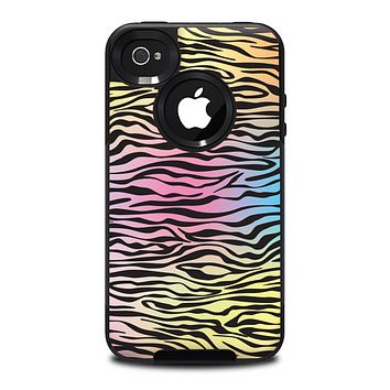 The Rainbow Colored Vector Black Zebra Print Skin for the iPhone 4-4s OtterBox Commuter Case
