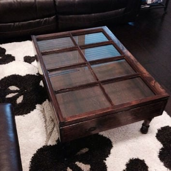 Distressed wood shadow box coffee table, window shadow box coffee table, re purposed coffee table, rustic coffee table, reclaimed wood table