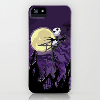 Halloween Purple Sky with jack skellington iPhone 4 4s 5 5c, ipod, ipad, pillow case tshirt and mugs iPhone & iPod Case by Three Second
