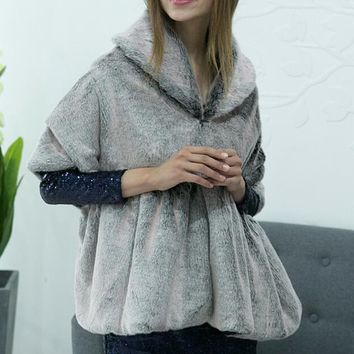 Gray Hooded Faux Fur Cape Coat