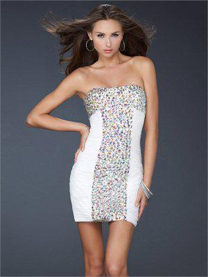 Short Strapless with beautiful stones Prom Dress PD1919