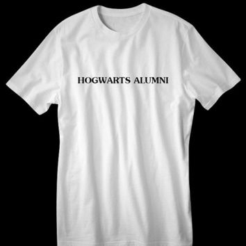 Harry Potter inspired Hogwarts Alumni Tshirt Tee shirt Hand printed white soft - SALE