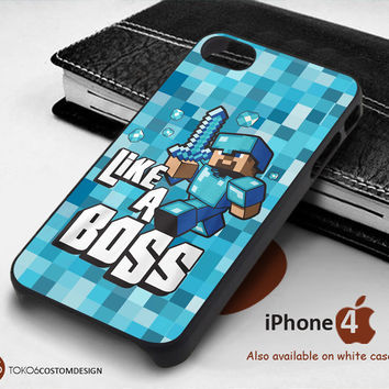 Cute Minecraft Like A Boss Blue for iPhone 4/4S, iPhone 5/5S, iPhone 6, iPod 4, iPod 5, Samsung Galaxy Note 3, Galaxy Note 4, Galaxy S3, Galaxy S4, Galaxy S5, Galaxy S6, Phone Case