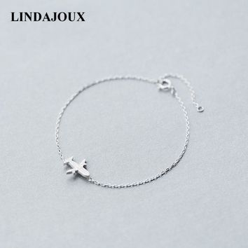 LINDAJOUX Fashion Cute Matte Plane Charm 925 Sterling Silver Bracelet For Women