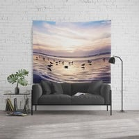 dusk on the beach Wall Tapestry by sylviacookphotography
