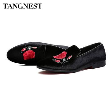 Luxury Brand Embroidery Men's Loafers Velvet Pointed Toe Dress Flats