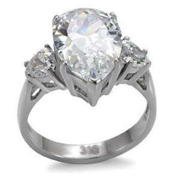 Pear Cut CZ Stainless Steel Cocktail Engagement Ring