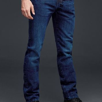 Gap Men 1969 Straight Fit Jeans Dark Blue Black Wash