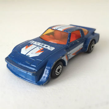 Vintage Matchbox Car - Blue Mazda RX-7 - 1980s Toy