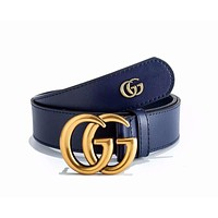 GUCCI Popular Woman Men Smooth Buckle Leather Belt Blue