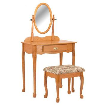Asia Direct 526-OAK 3 pc oak finish wood vanity set with vanity table, mirror and bench