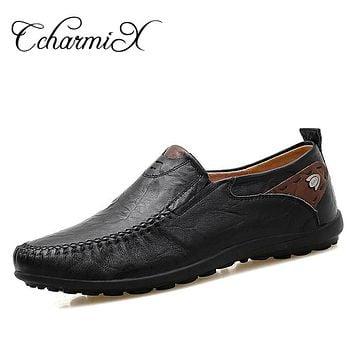 Summer Cool Men Slip On Men Driving Shoes Men Casual Shoes Black Leather Moccasins Home