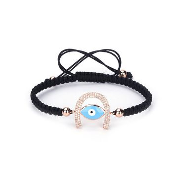 UBeata Charm Braided Rope Bracelet with Evil Eyes Macrame Adjustable White CZ Zircon Paved Hand-woven