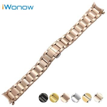Stainless Steel Watch Band 18mm 20mm 22mm for Fossil Curved End Strap Butterfly Buckle Belt Wrist Bracelet Black Gold Silver