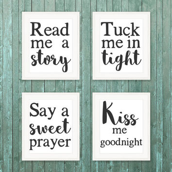 8x10 Printable Wall Art Set Read me a story quote print set nursery rhyme print kid baby print set black and white art set INSTANT DOWNLOAD