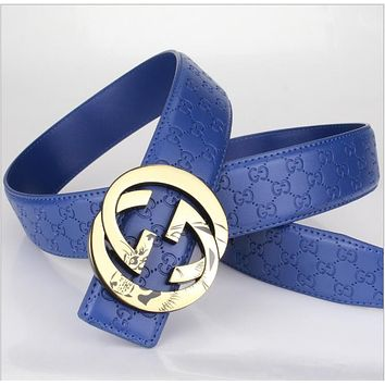 GUCCI Woman Men Fashion Belt Leather Belt Blue