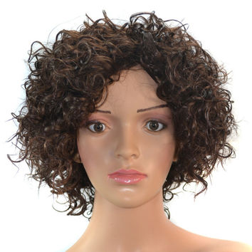 Wig Afro Curled Hair Short Cap