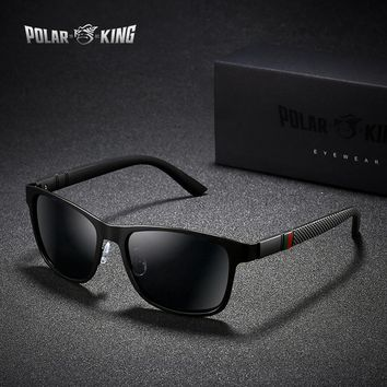 POLARKING Brand Metal Designer Polarized Sunglasses For Driving Men Oculos Square Sun Glasses For Men's Fashion Travel Eyewear