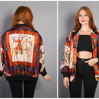 90s HERMES SILK Bomber JACKET / Reversible Feux D'Artifice Baroque Scarf Print