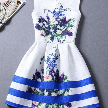 Casual Round Neck Sleeveless Floral Printed Striped Skater Dress