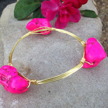 Hot Pink Bangle, Stone Bangle, Bangle Set, Light Bangles, Gold Bangle, Silver Bangle, Stone, Handmade Bangles, Wire Bangles, Wire Wrap
