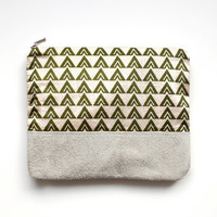 Green Triangles Leather-Suede Pouch No. VZP-101