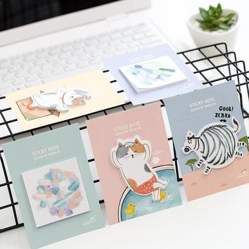 4 pcs/Lot Lazy cat post it notes Cute animal paper memo pad Watercolor sticker diary Office accessories School supplies A6709