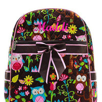 Brown Owl Monogrammed Backpack  Monogram Quilted Backpack  Personalized Backpack