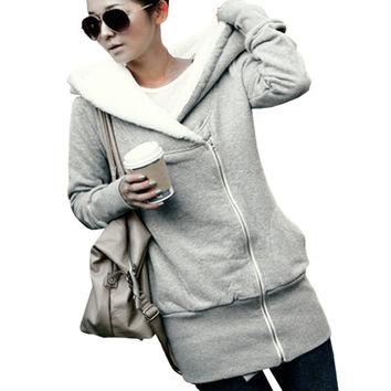 Fashion Womens Hoodies Winter Autumn Warm Fleece Cotton Coat Zip Up Outerwear Hooded Sweatshirts Suit Casual Long Jacket