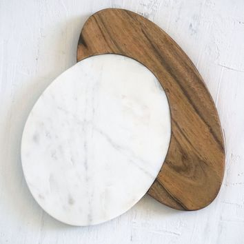 Marble Cheese Board - Wood & Marble Round Cutting Surface Size Medium