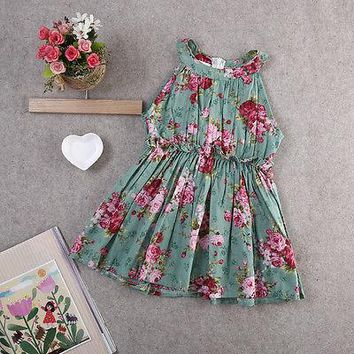 Kids Girls Toddler Baby Sleeveless Princess Dress Flower Tutu Dresses Summer Princess Party Tutu Floral Sundress