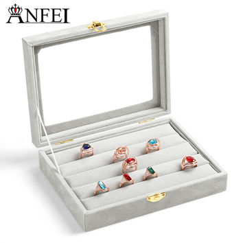 Free shipping ring jewelry box glass cover ring storage box stud earring box earring jewelry accessories display rack