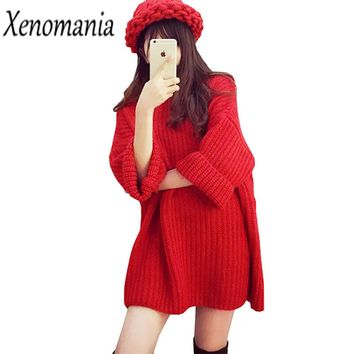 Batwing Knit Sweater Dress Christmas Korea Sweater Women Sweaters And Pullovers 2019 Oversized Jumper Red Plus Size Pullover New