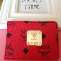 MCM New Fashion Women Small Wallet Red