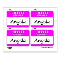 Angela Hello My Name Is - Sheet of 4 Stickers