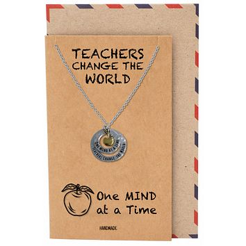 Adira Gifts for Teachers - Apple Pendant Necklace with 2 Circles, with Inspirational Greeting Card