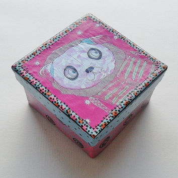 Pug Trinket Box - Folk Art Trinket Box -Unique Trinket Box - Pug Jewelry Box - Pink Trinket Box - Pink Jewelry Box - Funky Pug - Pug Lovers