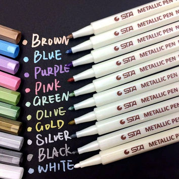 PuTwo Permanent Metallic Markers 10 Units Markers Metallic Colors Metallic Marker Metallic Markers for Kids Manga Photo Album on Any Surface - Assorted Colors
