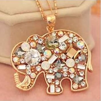 Ahmed Jewelry Korean Fashion Jewelry For Women 2015 New Crystal Lucky Lovely Elephant Necklace Pednat Necklaces Long Chain