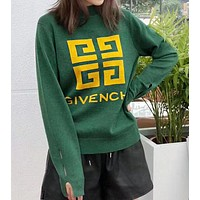GIVENCHY Autumn Winter Fashionable Women Casual Jacquard Long Sleeve Knit Sweater Top Sweatshirt Green