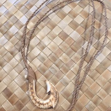 Burnt Bone with Tribal Etching Fish Hook Necklace