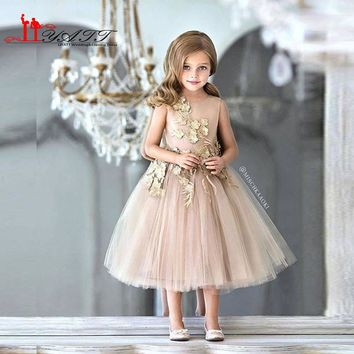 Dark Champagne Cute Lace Appliques Flowers Girl Dress 2017 Tea Length Short Vintage Tulle TuTu Kids Prom Evening Gowns Vestido