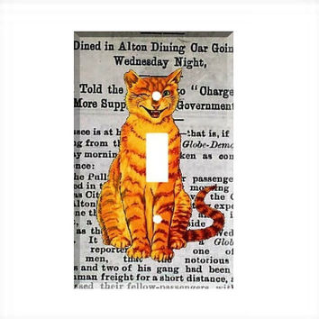 Light Switch Cover - Light Switch Plate Vintage Crate Label Tom Cat