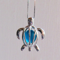 Sea Glass Turtle Deep Teal  Locket  Sterling Silver Honu