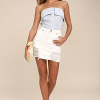 Good Friends White Distressed Denim Mini Skirt